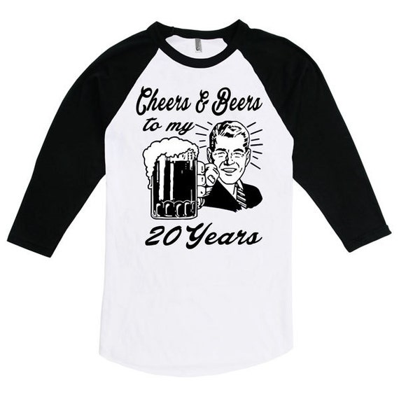 Retro Man 20th Birthday Raglan Gift For Twenty Year Old Cheers And Beers To My 20 Years T Shirt B Day Present Custom Tee Any Age BD 056