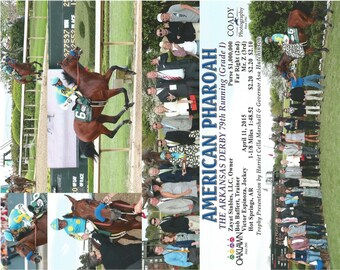 American Pharoah - 6 Photo Composite of the Arkansas Derby win at Oaklawn Park
