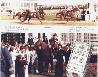 Affirmed - 1978 Kentucky Derby 2 Photo Composite - Finish Line & Winners Circle