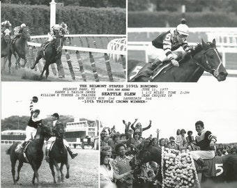 Seattle Slew - 1977 Belmont Stakes 4 Photo Composite - B&W