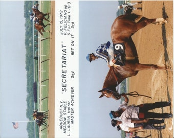 Secretariat Maiden Race win on July 15th, 1972 - 2 Photo Composite