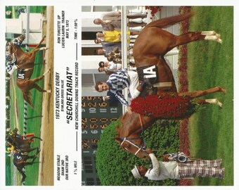 Secretariat Kentucky Derby win on May 5th, 1973 - 2 Photo Composite
