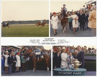 Secretariat Man O' War Stakes win on October 8th, 1973 - 4 Photo Composite