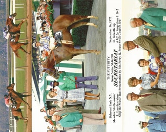 Secretariat Belmont Futurity win on September 16th, 1972 - 3 Photo Composite