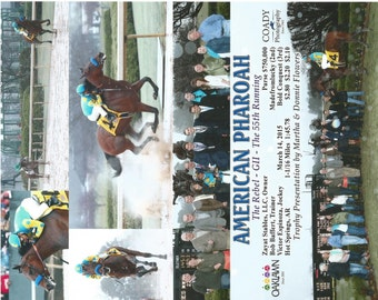 American Pharoah - 6 Photo Composite of the Rebel Stakes win at Oaklawn Park
