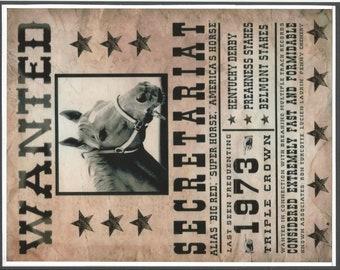 "SECRETARIAT - Wanted Poster - 8"" x 10"""