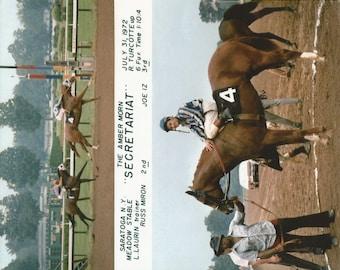 Secretariat Amber Morn win on July 31st, 1972 - 2 Photo Composite