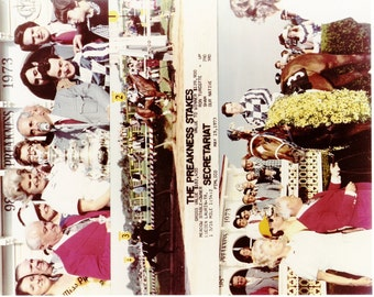 Secretariat Preakness Stakes win on May 19th, 1973 - 3 Photo Composite
