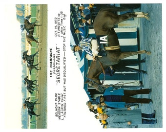 Secretariat Champagne Stakes win on October 14th, 1972 - 2 Photo Composite