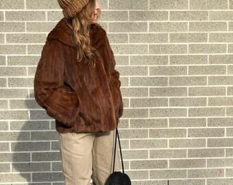 Vintage 1950's brown Mink fur bomber jacket, mink fur jacket, brown mink coat, luxury fur coat, 1950's fur, vintage fur, lux fur, mink