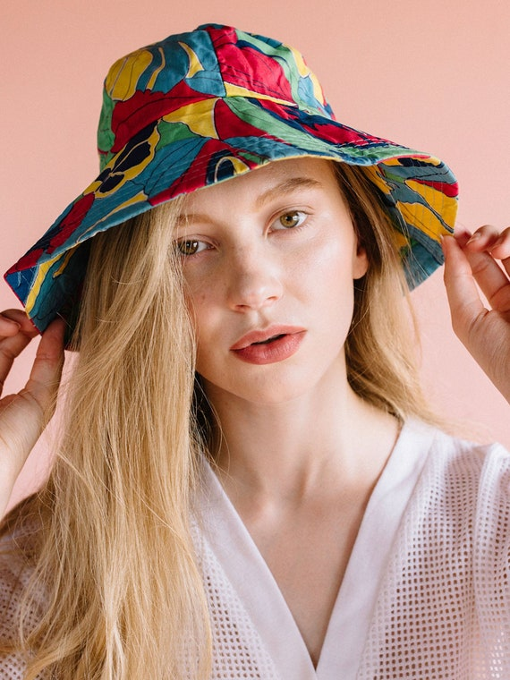 1980's Bucket Hat, floral bucket hat, woman's buck