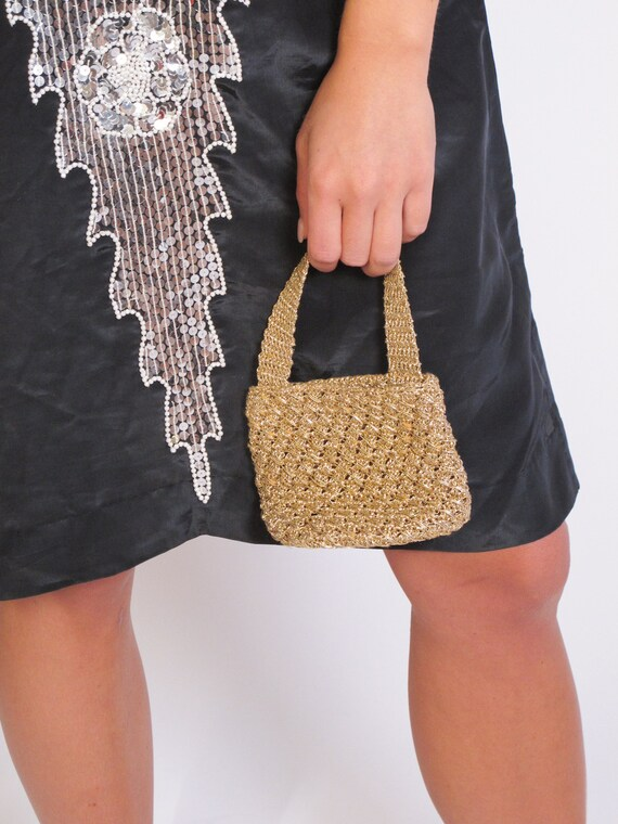 Mini Gold Crochet Metalic Bag, mini bag, Italian g