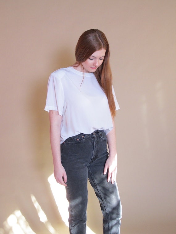 Luxury White Silk T-Shirt, woman's vintage 1990's
