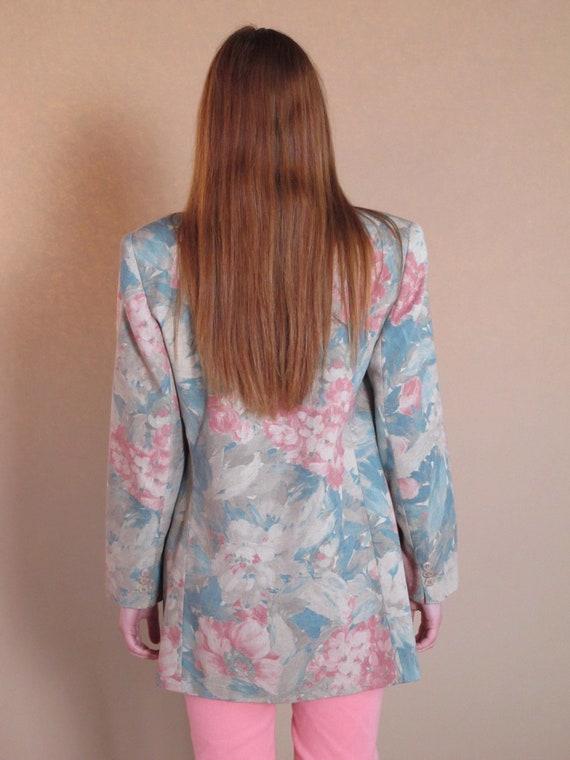 Oversized Floral Blazer, vintage floral blazer, v… - image 3