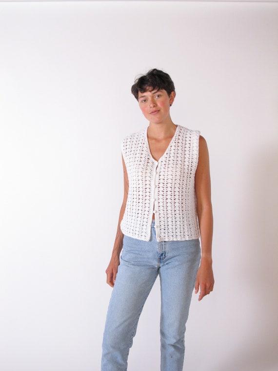 White Crochet Vets, vintage 1960's crochet vest, … - image 2