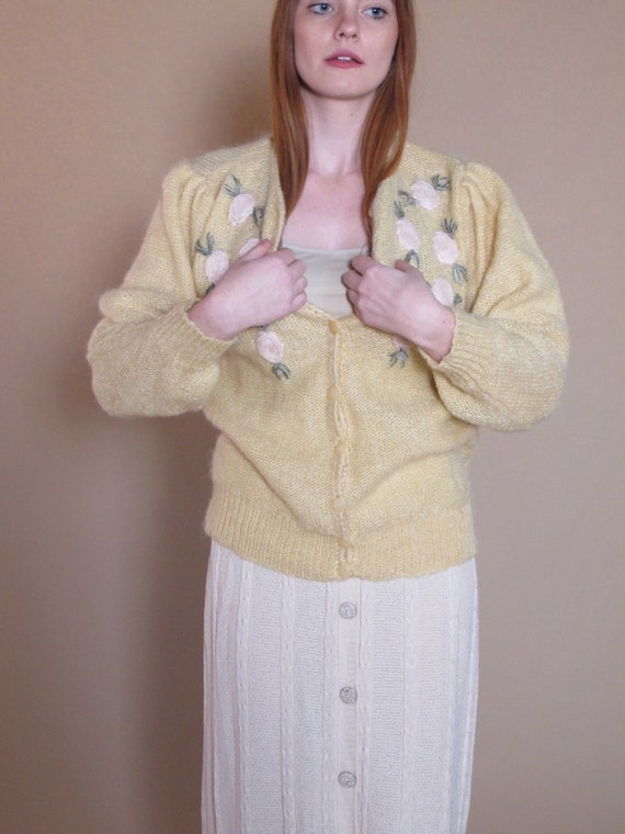 Floral Mohair Sweater, woman's vintage sweater, cr