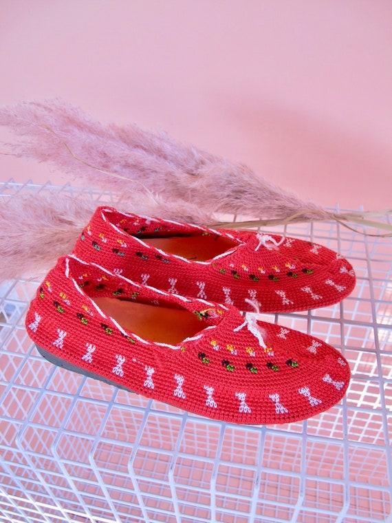 Red Crochet Shoes, woman's shoes size 7, beach sho