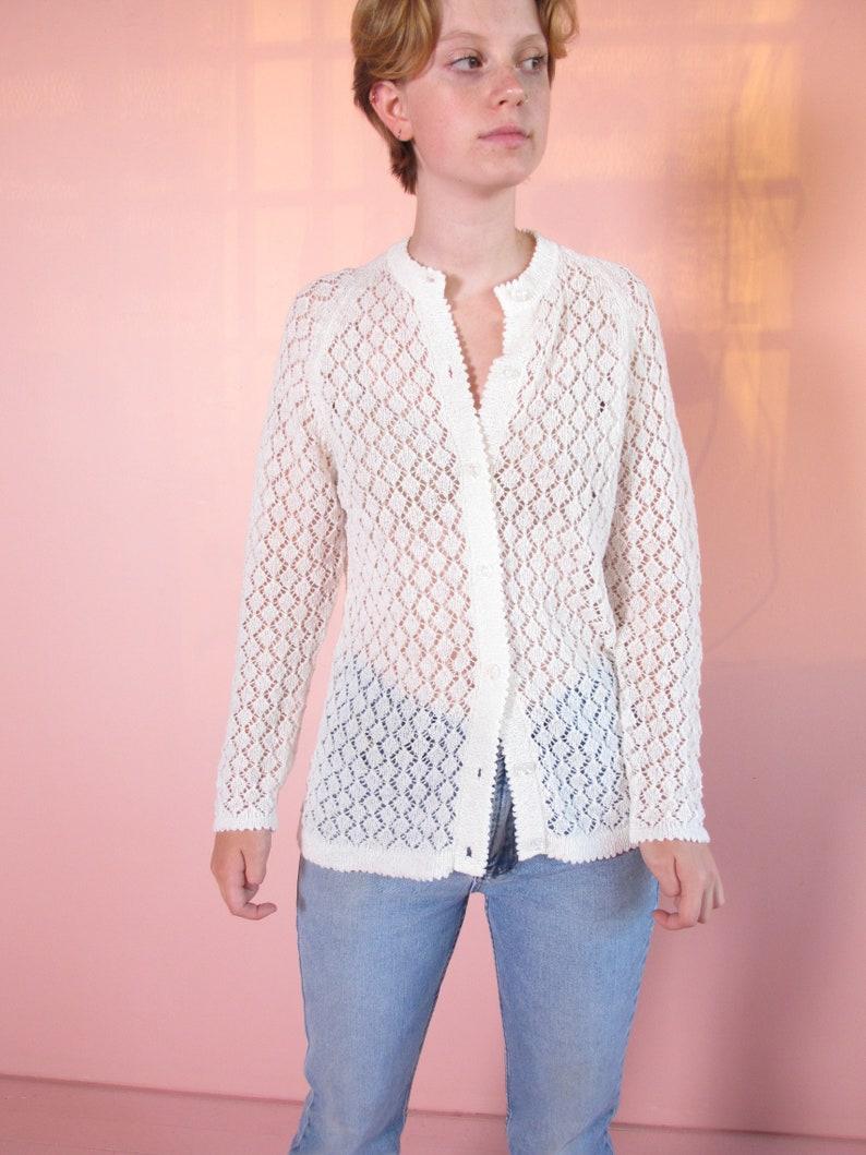 woman/'s sweater white sweater bridal sweater vintage sweater Hand Crochet Vintage Sweater acylic light weight sweater crochet sweater