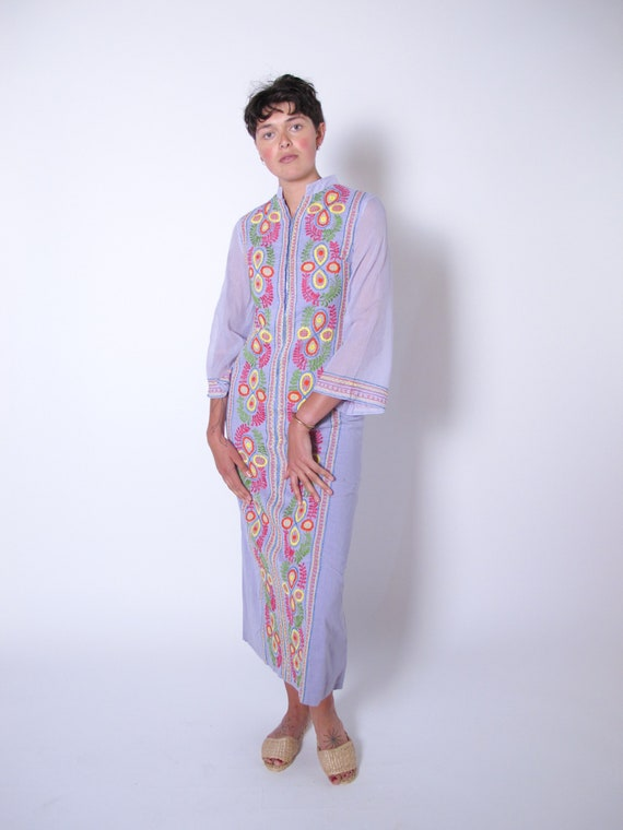 1960's Lavender Cotton Tunic Dress, embroidered dr