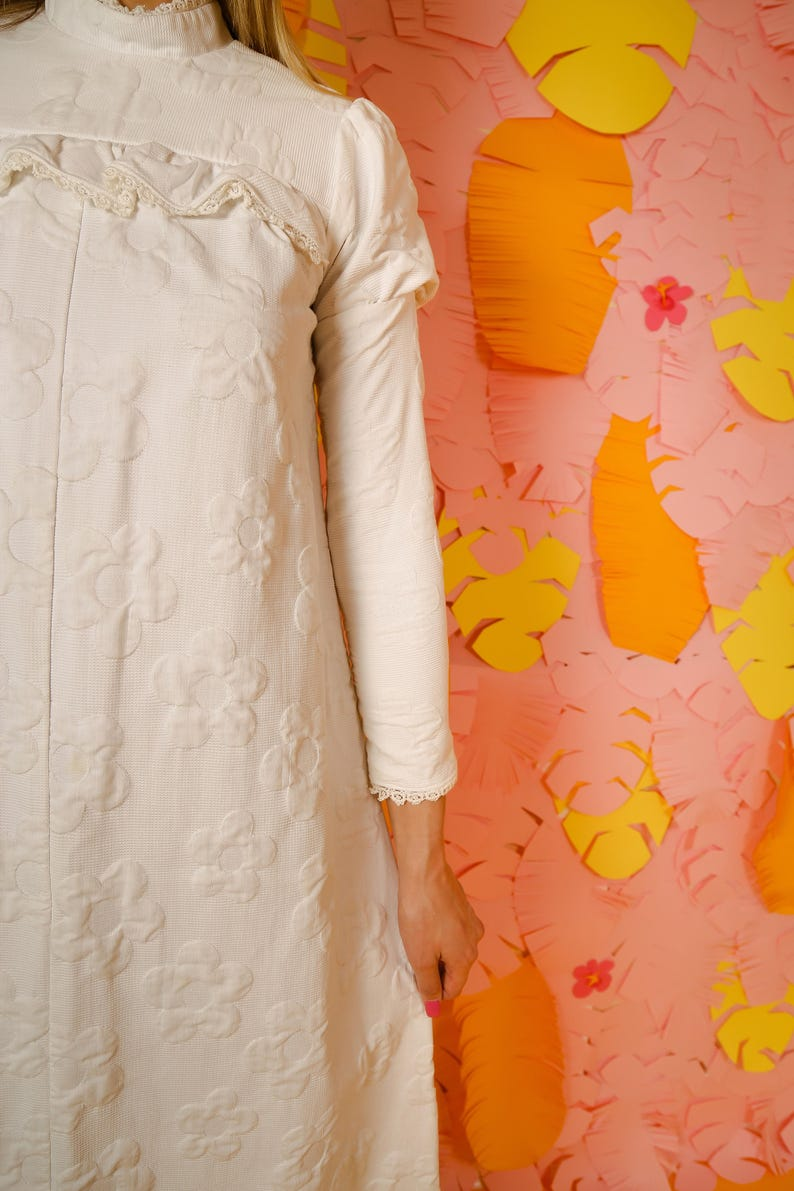60/'s wedding dress vintage bridal 60/'s flower print bohemian wedding dress Retro 1960/'s vintage wedding dress 1960/'s wedding dress