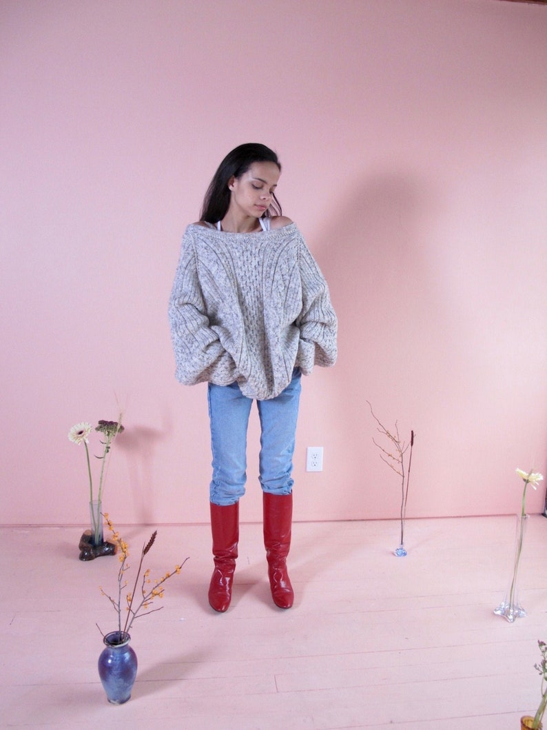 woman/'s knits cable knit sweater knitwear Oversized Heathered Sweater vintage sweaters woman/'s vintage sweater acrylic sweater