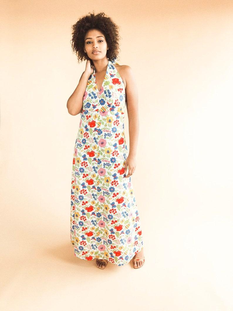 0a5d469370bf Vintage floral halter Abito abito estivo di cotone Vintage