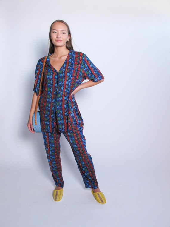 Multicolored 2 Piece Set, printed top and printed… - image 1