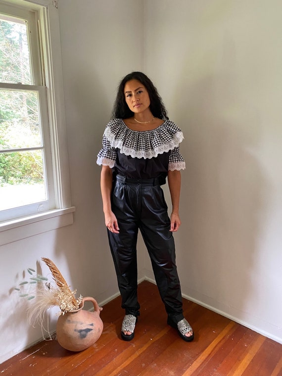 Black Gingham Blouse, cotton blouse, ruffle blouse