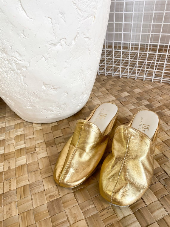 Vintage 1960's Gold Slippers, gold leather shoes,