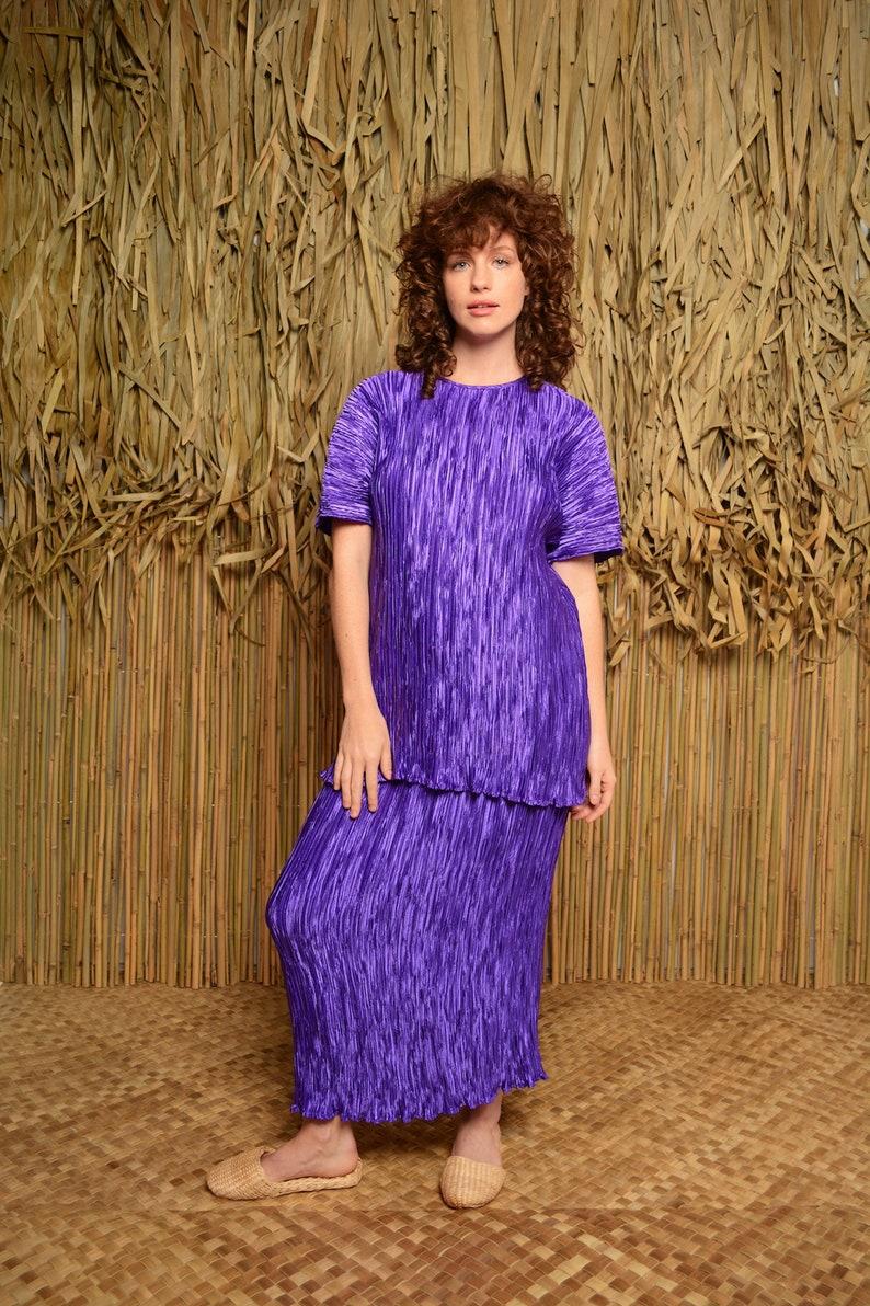 2 piece set vintage pleated dress purple blouse Vintage Purple Micro Pleat Skirt and Top micro pleat skirt 1980/'s skirt purple skirt