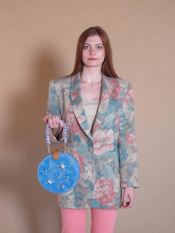 Oversized Floral Blazer, vintage floral blazer, v… - image 2