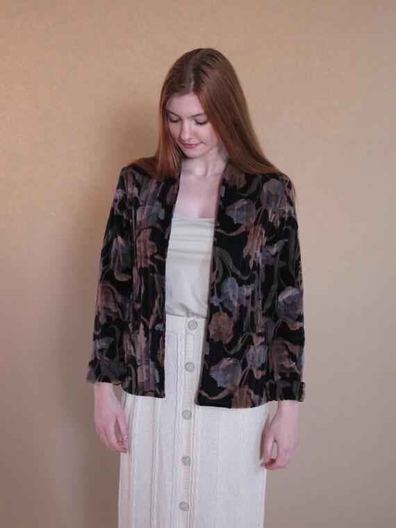 Vintage 1970's Quilted Jacket, black floral velvet