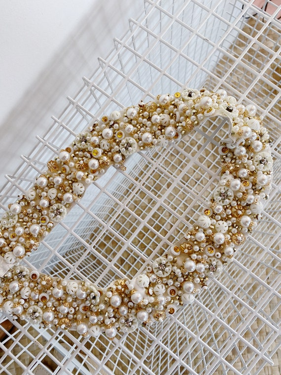 1950's Hand Beaded Belt, bridal belt, 1950's belt… - image 1