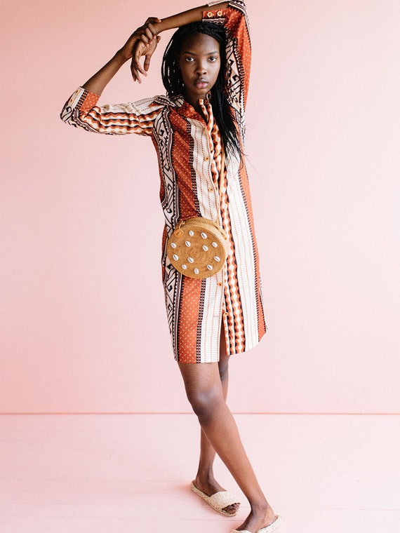 1970's Vintage Shirt Dress, printed dress, button