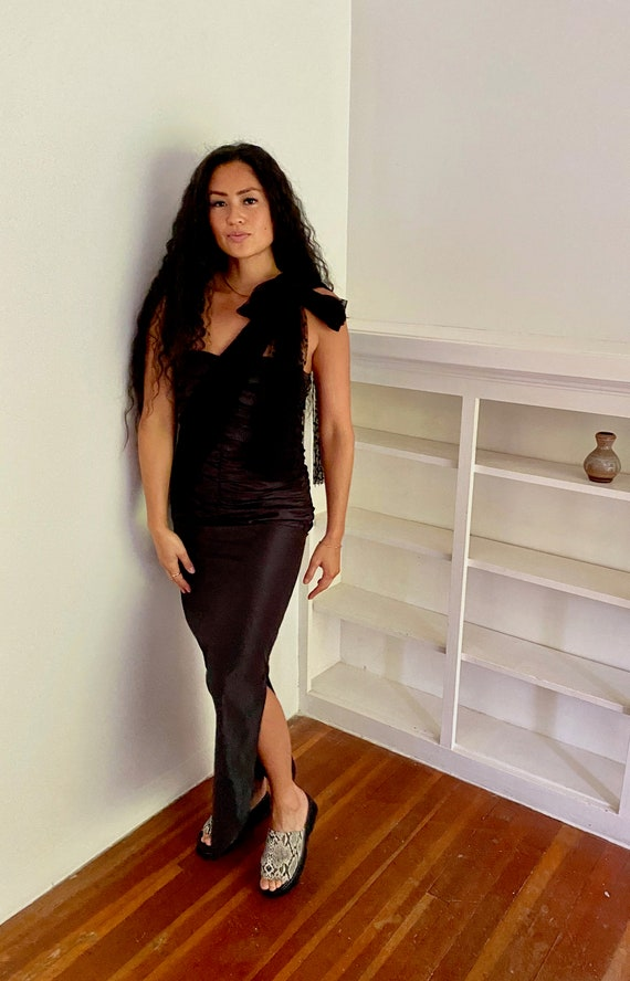 Black Party Dress, vintage black dress, sheer bow