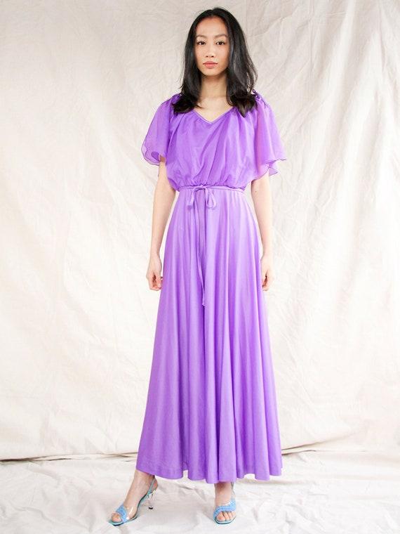 1970 S Purple Dress Vintage Dress Purple Vintage Dress Wedding Guest Dress Vintage Dresses Long Dress Ruffle Dress Sheer Dress