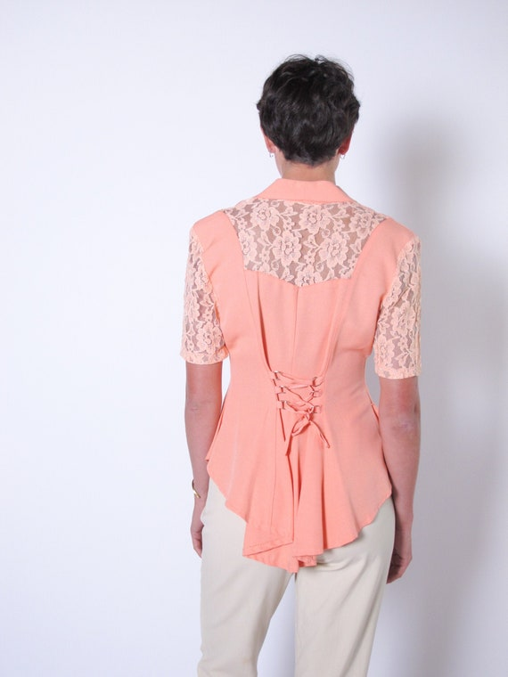 Peach 1990's Lace up and Lace Blazer, Pretty Woman