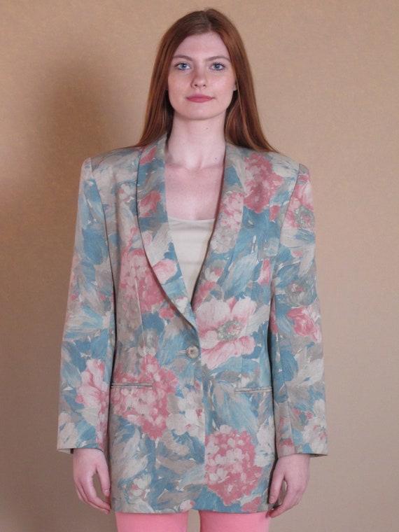 Oversized Floral Blazer, vintage floral blazer, v… - image 5