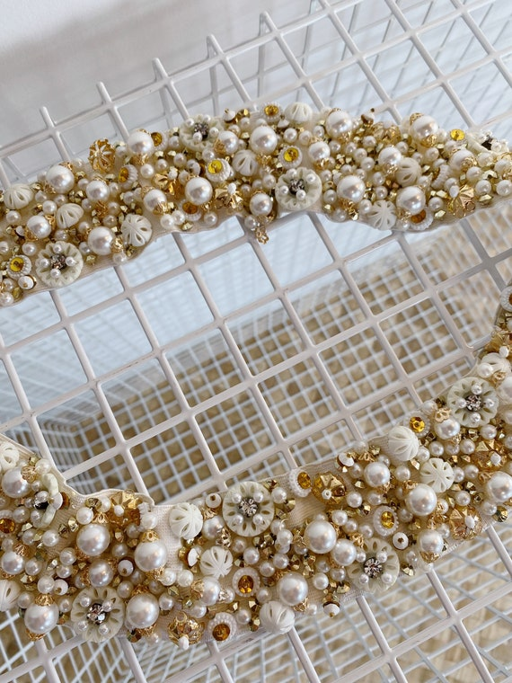 1950's Hand Beaded Belt, bridal belt, 1950's belt… - image 4