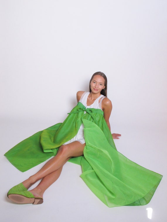 Lime Green Tie Dress with white cotton slip dress,