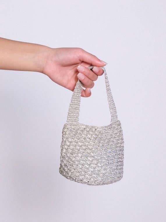 Mini Silver Crochet Metalic Bag, mini bag, Italian
