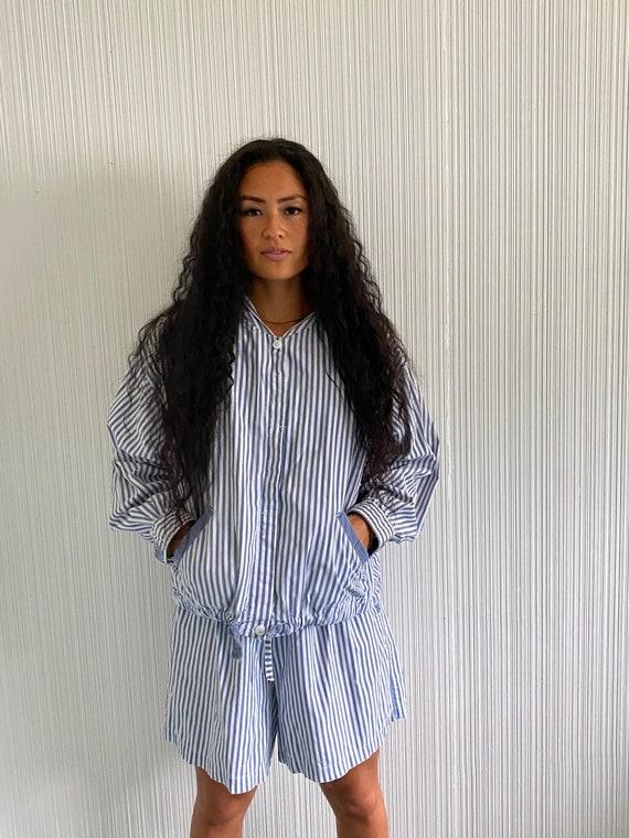 Cotton Blue Stripe Set, cotton jacket and short se