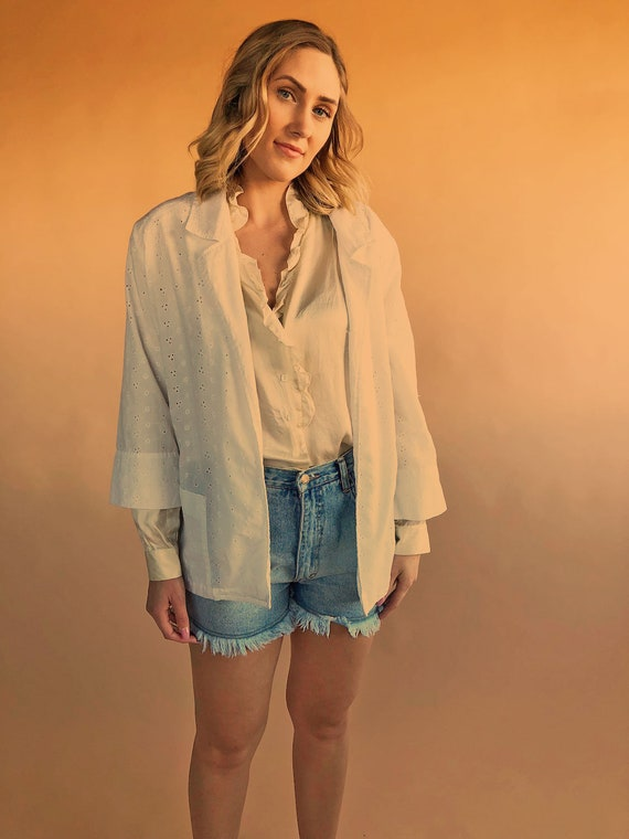 Light cotton summer jacket or blouse, vintage eyel