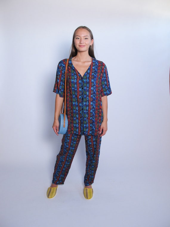 Multicolored 2 Piece Set, printed top and printed… - image 2