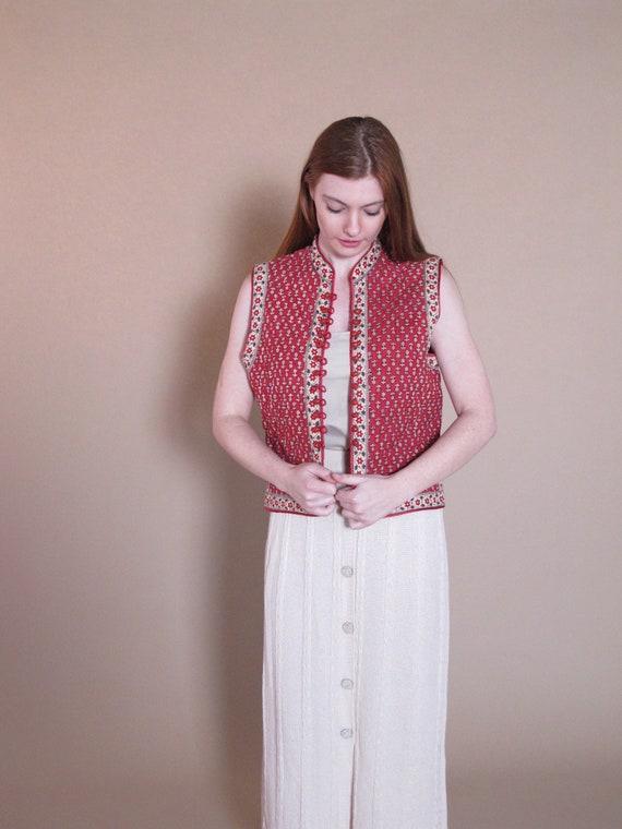 1970's Quilted Vest, vintage Indian cotton vest, 1