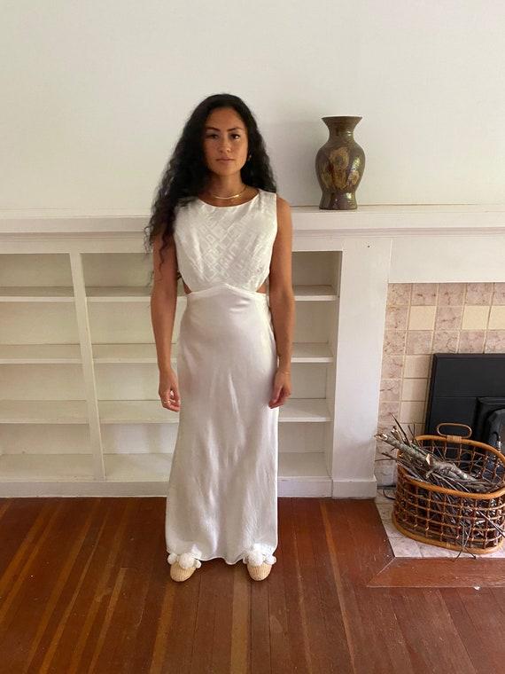 Cream Satin Dress, vintage wedding dress, minimal