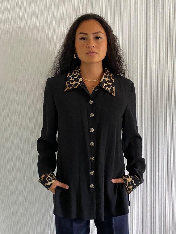 Vintage 1990's Black and Leopard Blouse, black blo