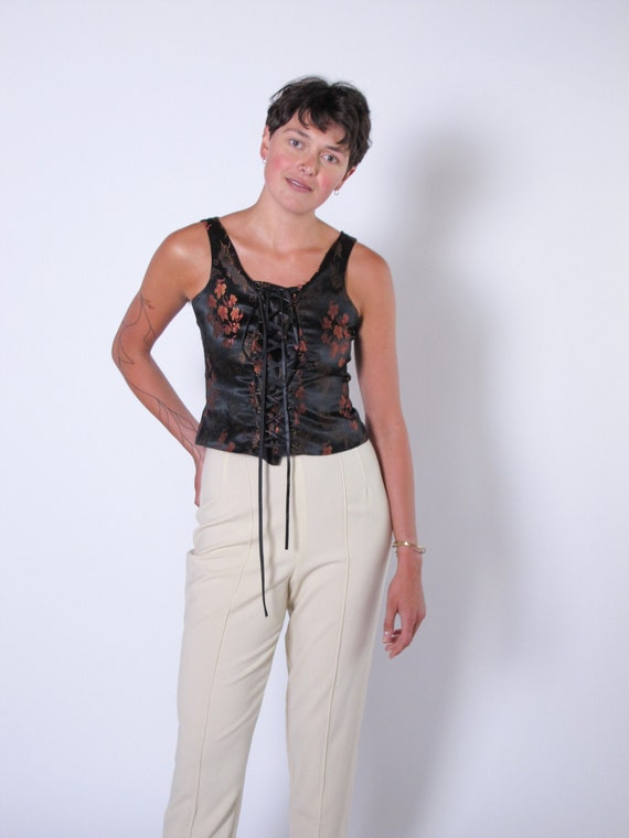 Pierre Cardin Chinoiserie Corset Top, lace up blou