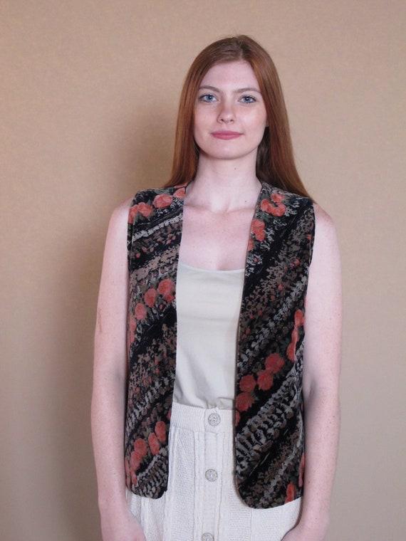 Vintage 1970's Velvet Floral Vest, velvet vest, fl