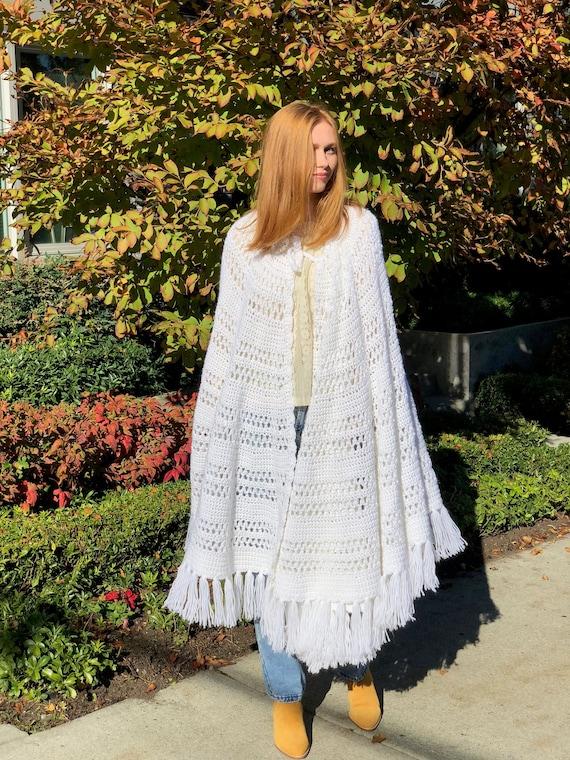 XL white crochet cape, wedding poncho, wedding cro